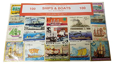 Ships of the World Stamp Collection! Boats Boat Transport Souvenir / Speicher / Memoria! Highly Collectable Stamps from Around the World! All Different, 100 Distinct Stamps! Timbre / Stempel / Francobollo / Sello!