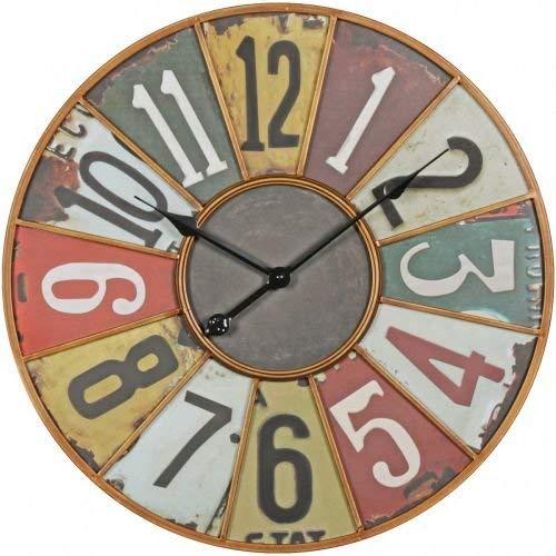 Wohnling Deko Vintage Wanduhr XXL Ø 60 cm Industrial Time Metall bunt | Große Uhr rustikal Dekouhr rund | Design:etro Küchenuhr für Küche und Wohnzimmer