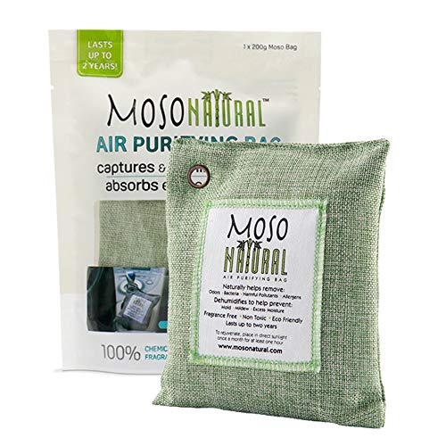 MOSO NATURAL Air Purifying Bag. Odor Eliminator, Odor Absorber for Cars and Closets. 200g Green Color
