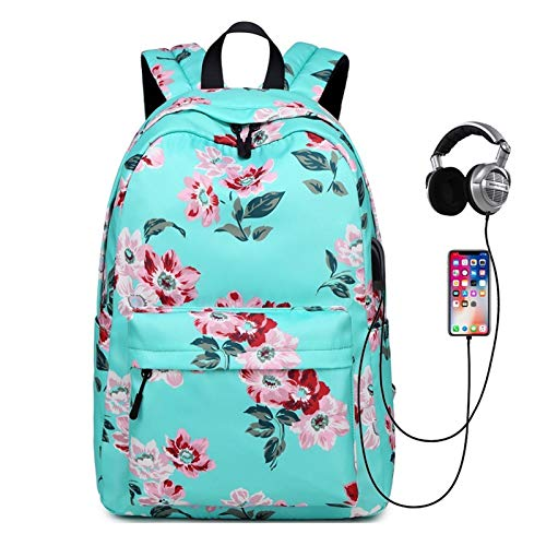 HFQJTU Laptop Backpack For Women Fits 15.6 Inch With USB Charging Port,Durable Water Resistant Casual Daypack Laptop Backpack For Women/Girls/Travel/Business(Rose Pattern) (Color : Green)