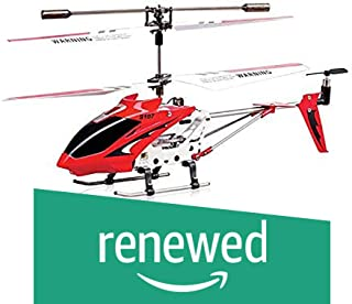 (Renewed) Toyhouse Metal Helicopter 3 Channel Infrared Remote Control with Gyroscope n LED Lights for Indoor, Red