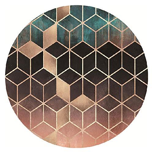 WJW-DT Teppich rund 80 100 120 140 160 180 200 cm Durchmesser Teppiche Wohnzimmer Schlafzimmer Küche Nachttisch Couchtisch Teppich Braun Schwarz Grün-180cm