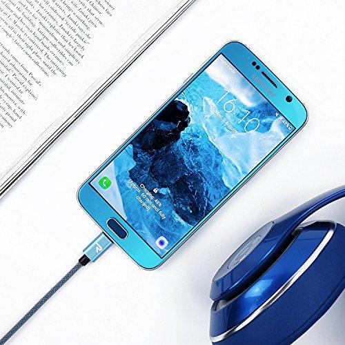 RAMPOW USB Kabel Micro, Schnelle Aufladung, mit Nylon Geflochtenes Micro USB Kabel Kompatibel mit Android Smartphones, Samsung, Huawei, Kindle und Mehr - 1M / 2 Stücke -Blau