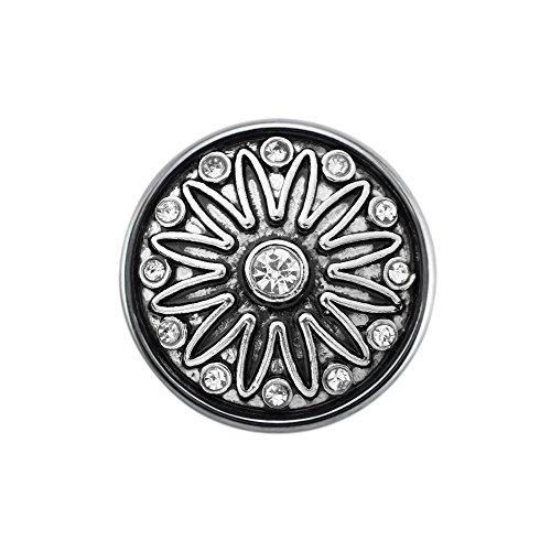 Quiges Damen Click Button 18mm Chunk Versilbert Blume Symbol mit Zirkonia für Druckknopf Zubehör