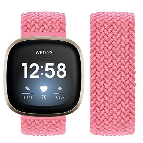 Vozehui Compatible con Fitbit Sense/Fitbit Versa 3, correa elástica y transpirable de nailon suave para Fitbit Versa 3/Fitbit Sense, mujeres y hombres