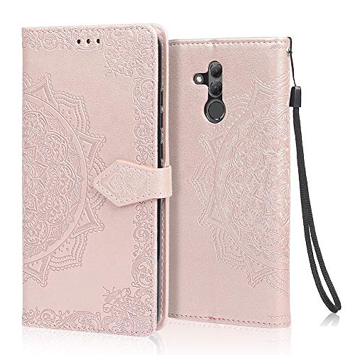 achoTREE Funda para Huawei Mate 20 Lite, Cuero De La PU Capirotazo Billetera para Huawei Mate 20 Lite,Flip Cover Smart magnética con Stand Plegable - Oro Rosa