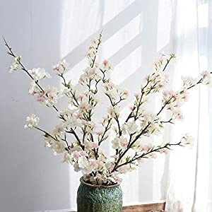 YIBELAAT Artificial Flowers,4pcs Branches Tall Fake Peach Cherry Flower,Spring Flowers,Easter Flowers, Arrangement for Home Wedding Decoration,41inch (Light Pink)