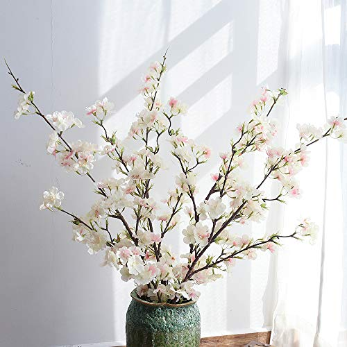 YUYAO Cherry Blossom Artificial Flowers,4pcs Silk Cherry Blossom Branches Tall Fake Peach Cherry Flower Arrangement for Home Wedding Decoration,41inch (Light Pink)