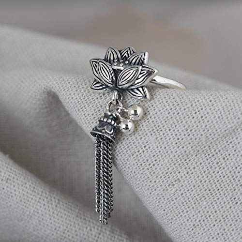 ZHOUBINBIN 925 Sterling Silver Ring,Adjustable Ring Vintage Silver Bead Tassel Lotus Open Ring Female Simple Fashion Literary Ethnic Flowers Jewelry Fine Unique Gift Ornament