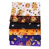 MoonyLI 6 piezas de tela de algodón para Halloween, costura, costura, manualidades, calabaza,...