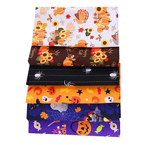 MoonyLI 6Pcs Halloween Coton Tissu Patchwork Couture Quilting Vêtements Artisanat Décor Halloween Citrouille, fantôme, araignée, Tissu de Coton Motif Tournesol 50 * 50cm