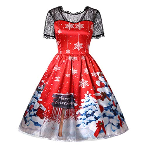 Lowest Price! KYLEON Women's Christmas Dress Retro Vintage 1950s Party Cocktail A-Line Swing Long Sl...