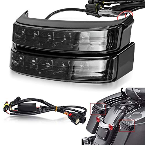Saddlebag Housing Tail Run Brake Turn Light Lamp LED Len for Touring Street Road Glide CVO Electra Glide Ultra Classic Ultra Limited CVO 2014-2020 (Black Smoke)