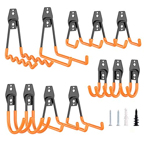 GLCS GLAUCUS 12 Stück Garagenhaken Werkzeughalter Gerätehalter Wandhalterung Haken Garage Storage Organisation für Haus Werkstatt Fahrrad Schlauch Leiter