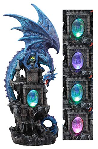 Ebros Large Blue Guardian Spyro Water Elemental Dragon On Rocky Mountain Castle Decorative Statue with Automatic Color Changing LED Night Light Mythical Fantasy Decor Figurine 20.75' Tall