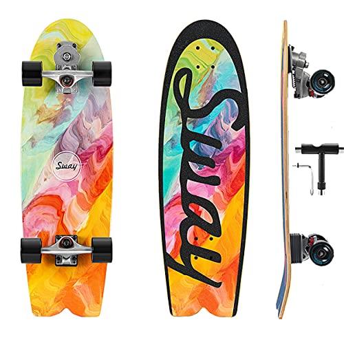 Skateboard Completo Profesional Surfskte S7 Carving Truck, Tabla De Skate Para Principiantes Adultos Niñas Niños, Pumpping Skate Cruiser Con Rodamientos ABEC-11 & 7 Capas Monopatín De Madera De Arce