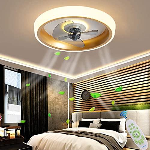 LANMOU Ventilador de Techo Silencioso con Luz LED, Ventilador de Techo Moderno con Iluminación y Control Remoto, Luces de Techo Ultrafinas, Luz de Ventilador Regulable para Salón, Dormitorio,Oro
