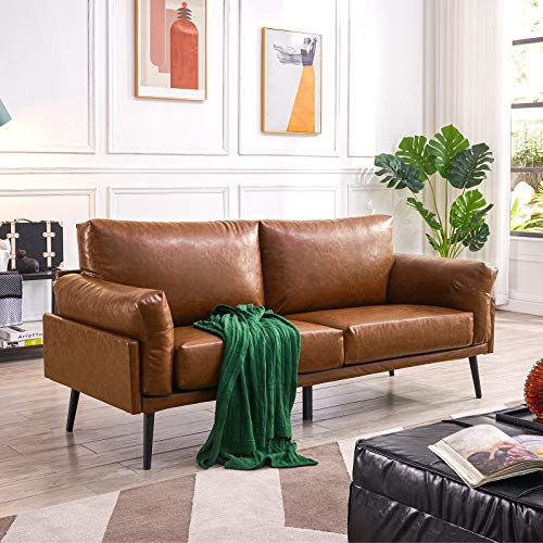 Vonanda Faux Leather Sofa Couch, Mid-Century Handmade with 74 inch Couch with Eucalyptus Frame and Comfortable Cloud Cushion for Compact Living Room or Apartment, Caramel
