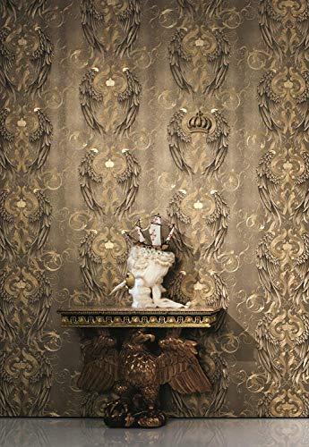 Tapete Gold Flügel, Krone, Edel - Klassisch - Kollektion Glööckler Imperial von marburg - für Schlafzimmer, Wohnzimmer oder Küche - Made in Germany - 10,05m X 0,70m - 52540