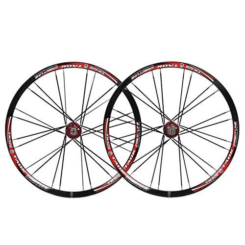 MZPWJD MTB 26' Bike Wheel Set Bicycle Wheel Double Wall Alloy Rim Tires 1.5-2.1' Disc Brake 7-11 Speed Palin Bearing Hub Quick Release 24H 6 Colors (Color : B)