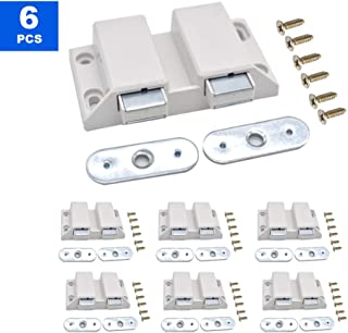 6 pcs Double Magnetic Touch Press Catch Latch Cabinet Magnet Latch Magnetic Catch Push to Open Magnetic Pressure Touch Release for Home Furniture Cabinet Door Cupboard
