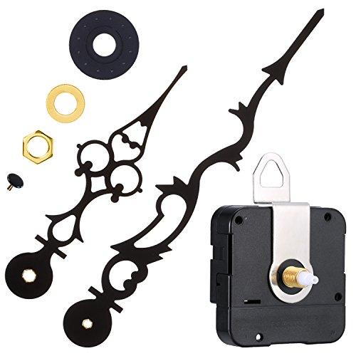 Mudder Meccanismo Movimento Orologio al Quarzo con 170 mm  6.7 Pollici Lancette Orologio per Fai da Te Orologio da Parete (Nero)