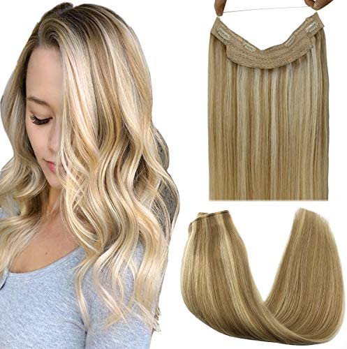 GOO GOO Real Hair Extensions Halo Hair Ombre Light Blonde Highlighted Golden Blonde 100g Remy product image