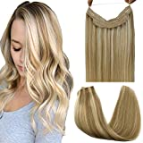 GOO GOO Real Hair Extensions Halo Hair Ombre Light Blonde Highlighted Golden Blonde 100g Remy Human Hair Extensions Flip in Hidden Crown Wire Hair Extensions Invisible Hairpiece 20 Inch