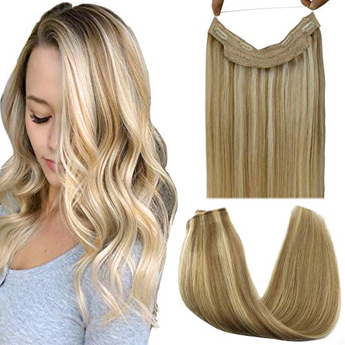 GOO GOO Hair Extensions Halo Hair Ombre Light Blonde Highlighted Golden Blonde 18 Inch 80g Remy Human Hair Extensions Flip in Hidden Crown Wire Hair Extensions Invisible Hairpiece