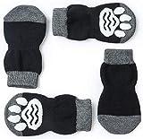 RXING L-XL Bottes et Chaussons pour Chiens Chaussettes antidérapantes pour Chien et Chat avec Renfort en Caoutchouc, contrôle de Traction pour Usage en intérieur (XL-BK)