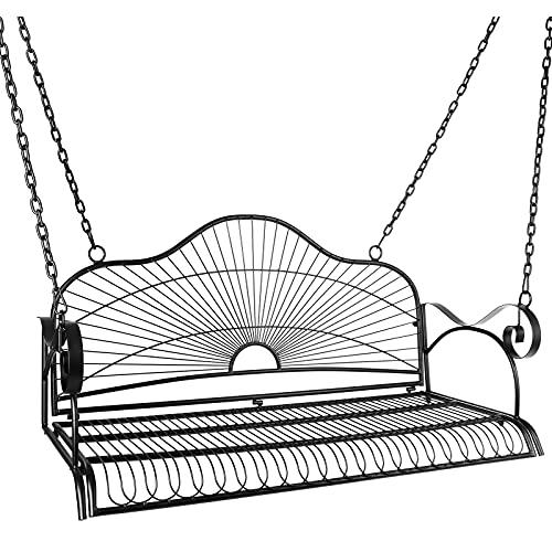 CLOFY Metal Porch Swing, Metal Outdoor Hanging Porch Swing, Iron Patio Porch Swing Bench Chairs, Heavy Duty Steel Black Metal Swing Hanging Chair for Patio Garden Bench Backyard - Black