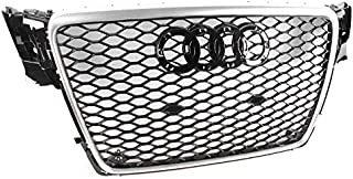 ZMAUTOPARTS For 2009-2012 Audi A4 / S4 B8 8T RS5 Style Honeycomb Mesh Hex Grille Gloss Black with Silver Trim