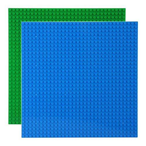 Celawork Bauplatte für Classic Bausteine,Grundplatte,Kompatibel mit Allen gängigen Marken, 25.5*25.5cm Platten-Set für Kreatives Spielen, Lernspielzeug (2pcs (Blau,Grün))