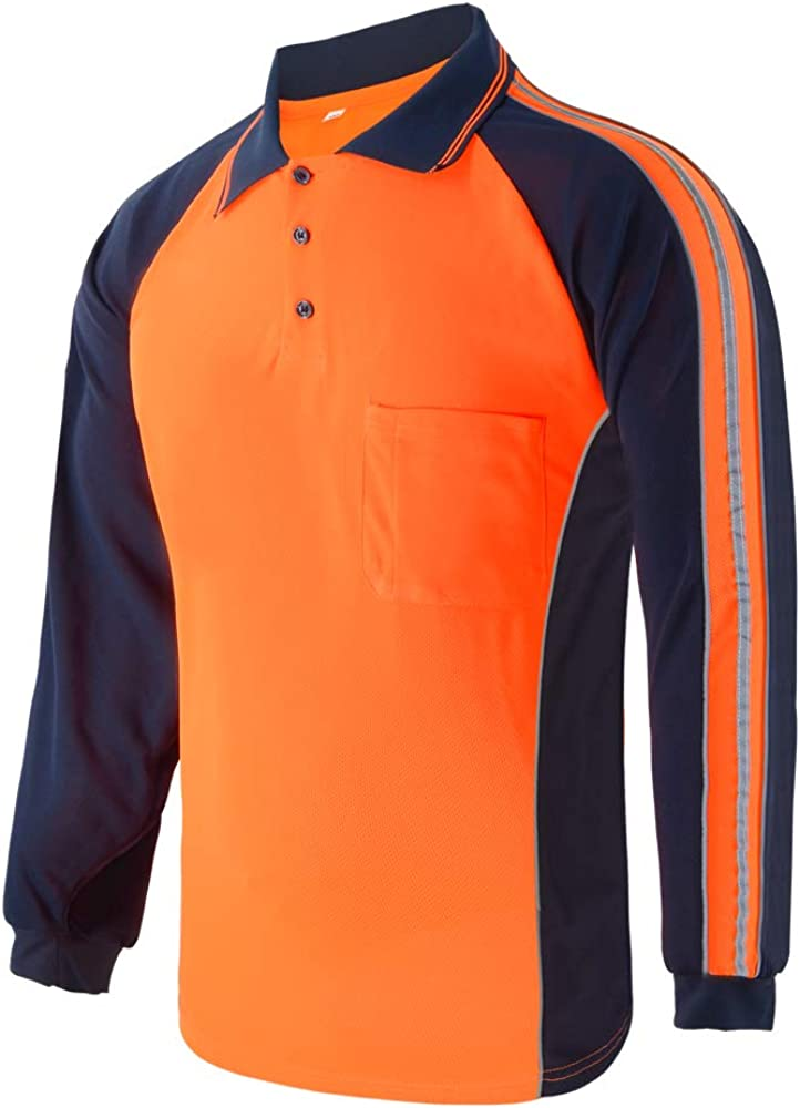 LOVPOSNTY Hi Vis Safety T Shirts Limited price Miami Mall Long Strip with Slee Reflective