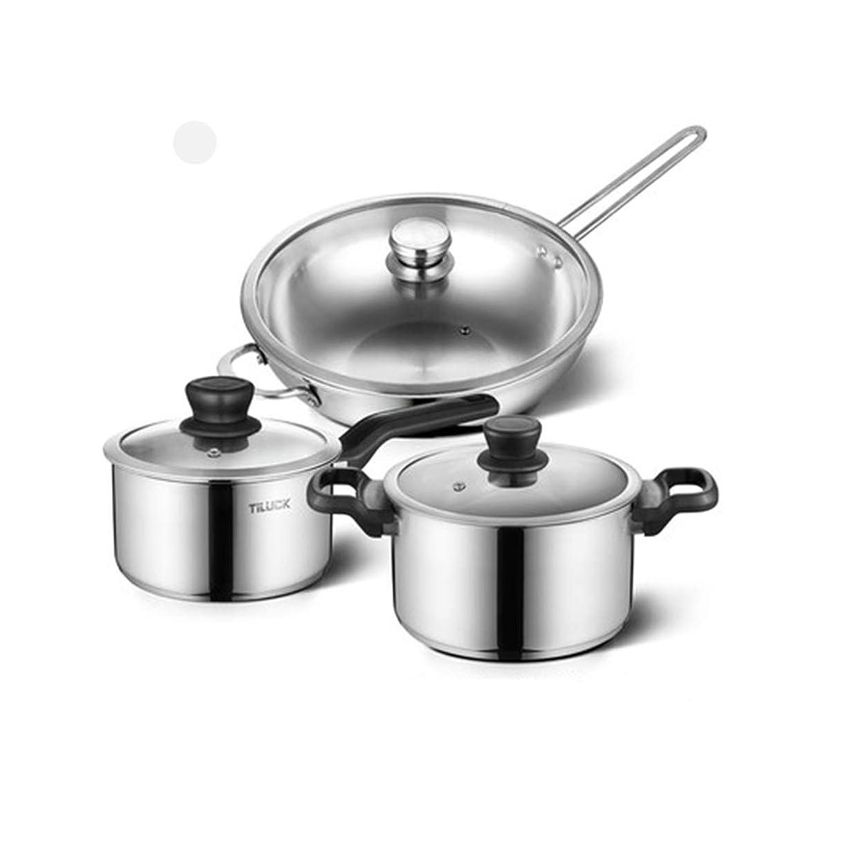 呪われた招待系譜304ステンレス鋼スープ鍋、厚底プレート、鍋セットの組み合わせ、焦げ付き防止パン、ステンレス鋼スリーピースセット、家庭用フライパン、フライパン、中華鍋、セット (Color : Silver, Style : Four-piece)