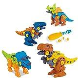 WSZMD Juguetes De Modelo De Dinosaurio Montado, 4 En 1 DIY con Destornillador Tyrannosaurus, Velociraptor, Triceratops, Conjunto De Modelos Ensamblados De Conehorn,4 in 1