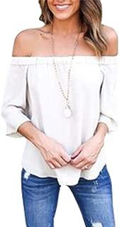 Blusa de Manga Tres Cuartos Fuera del Hombro Camisa Suelta con Cuello Holgado de Color Liso para ni/ña de Mujer
