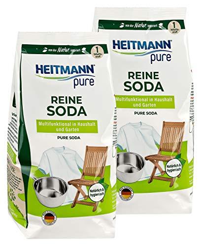 HEITMANN pure Reine Soda: Ökologischer Vielzweck-Reiniger für den Haushalt, Zugabe zu Spülmittel und Putzmittel, 2x 500g