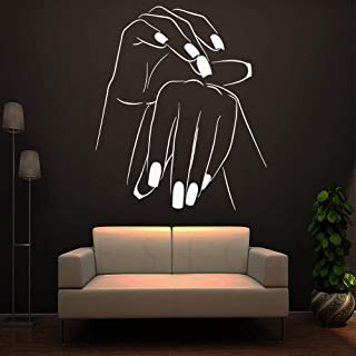 WSYYW Creative Nail Salon Wall Stickers Self-Adhesive Vinyl Waterproof Wall Stickers Art Stickers Baby Room Wall Stickers Wallpaper White L 43cm X 51cm