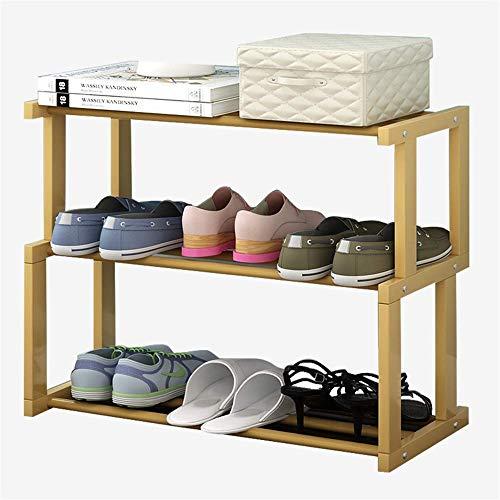 HLL Zapatero Gabinete de Zapatos de Madera Maciza de Moda Estante de Almacenamiento de Múltiples Capas Simple Tipo S Madera Maciza de Tres Capas,Madera Color
