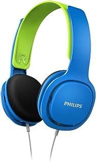 Philips Audio Coolplay Kids On-Ear Headphones - 85dB Volume Limiter - Safer Hearing (SHK2000BL), Blue/Green (SHK2000BL/00)