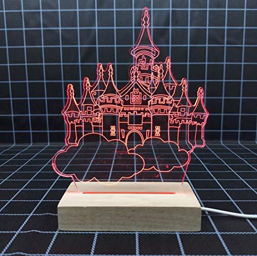 Air Castle 3D Veilleuses Usb Monochrome Lumière Veilleuses Étude de Chambre d'enfant Décoration Pour La Maison Lampe De Chevet Rouge Source De Lumière