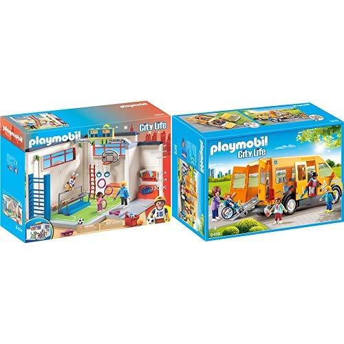 PLAYMOBIL 9454 Spielzeug-Turnhalle &  9419 - Schulbus Spiel