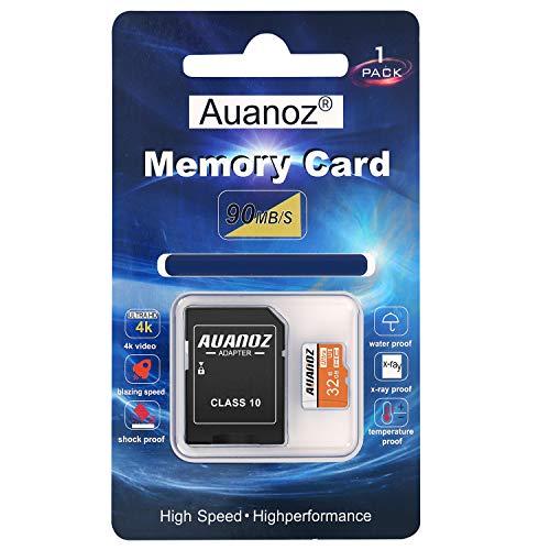 Auanoz TF-Speicherkarte 32GB, Ultra Klasse 10 Speicherkarte High Speed Speicherkarte für Telefon, Tablet und PC - mit Adapter.(Orange-32gb)