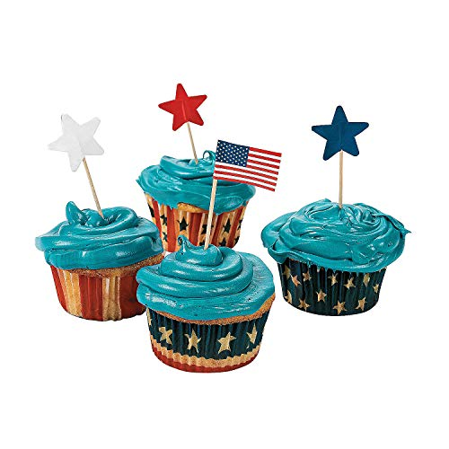 Fun Express - Knextion Patriotic Baking Cups With Pick for Fourth of July - Party Supplies - Serveware & Barware - Misc Serveware & Barware - Fourth of July - 200 Pieces