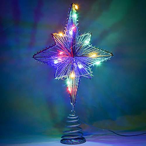 YQing 13.3 Pouce Etoile Sapin Noël Pentagramme Decoration, LED Etoile de Noel Scintillant Arbre Noël Sapin Topper Or Ornements d'arbre de Noël Décor Treetop de Fête de Noël pour Sapin,Argent