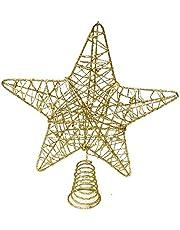 BELLE VOUS Decoracion Arbol Navidad - Adornos Árbol Navidad Coronar Arbol - Estrella Navidad 5 Puntas Dorado Metálico 20cm - Adorno de Navidad Elegante y Brillante Decoración Fiesta Navidad Hogar