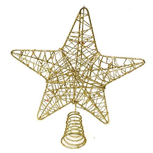 Weihnachtsstern Baumspitze - Weihnachtsbaum Spitze - 5 Punkt Stern Christbaumspitze – Gold Metall 20cm – Tannenbaumspitze Toppers Baumschmuck elegant Glitzer - Weihnachtsdeko, Party, Weihnachten