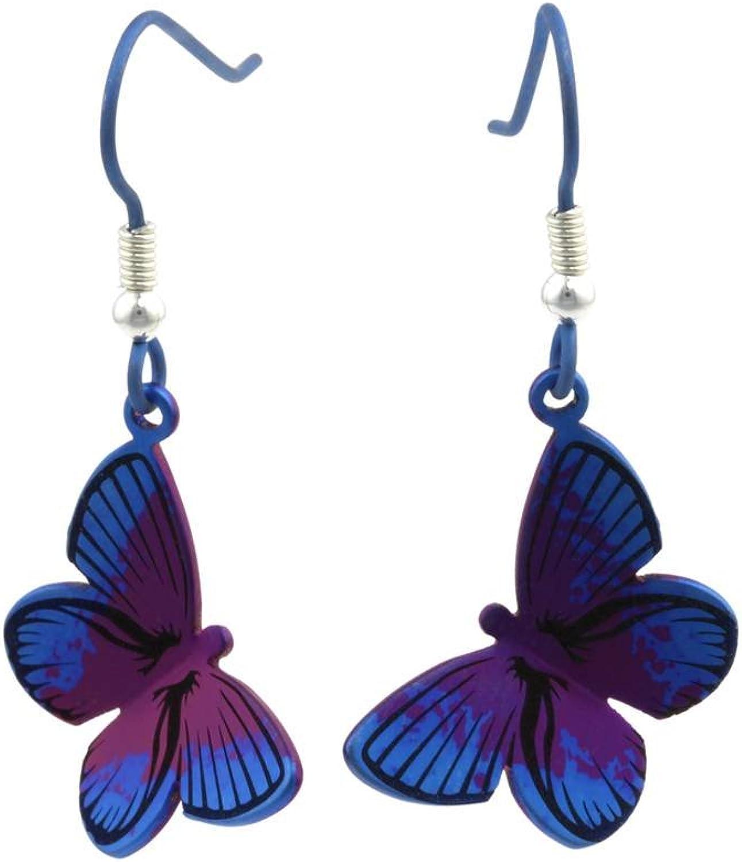 Ti2 Titanium Womens Woodland Large Butterfly Drop Earrings  Purple