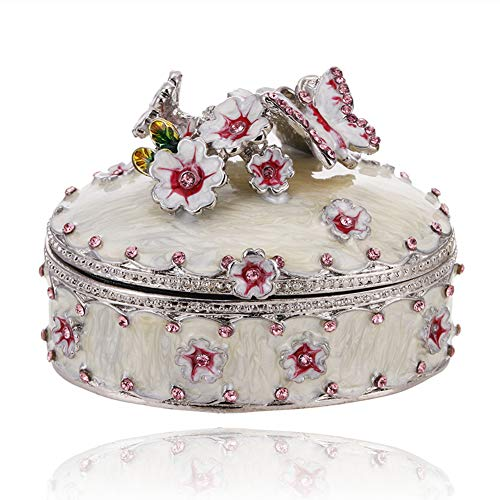 Hand Painted Flower Trinket Box, Hinged Enameled Jewelry Box, Unique Mini Ring Earrings Jewelry Organizer, Vintage Bejeweled Storage, Figurine Collectible Keepsake Home Decor (Flowers-3)